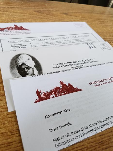 Vivekenanda Retreat appeal mailing materials