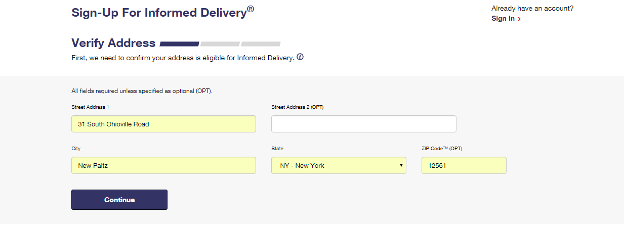 Informed Delivery tab 1 - Address Verification