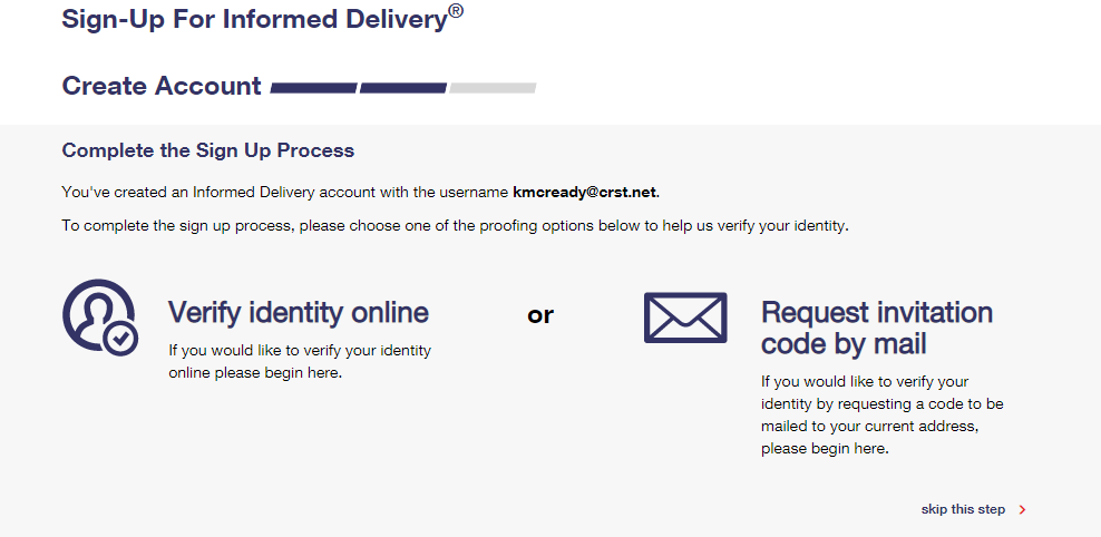 Informed Delivery verify user step